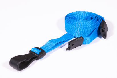 Light Blue 10MM Lanyards With Breakaway Clip & Plastic J-Clip