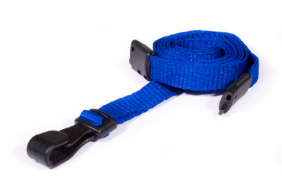 Navy Blue 10MM Lanyards With Breakaway Clip & Plastic J-Clip