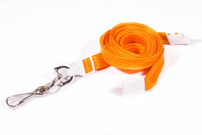 Orange 10mm Breakaway Lanyard with Metal Swivel Hook