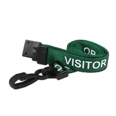 Green Visitor Lanyards Pre-Printed Breakaway With Plastic Clip