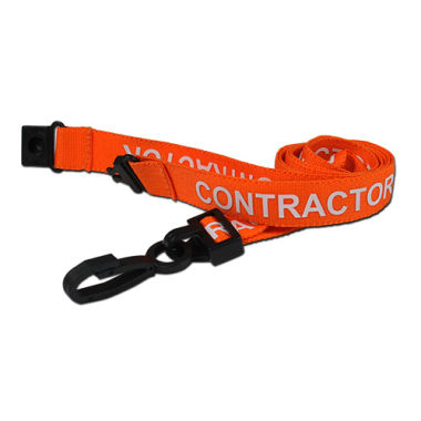Orange Contractor Lanyards Pre-Printed Breakaway With Plastic Clip