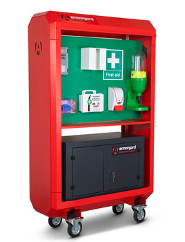IH4 front left first aid kit cabinet shut