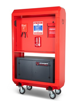 IH4 front right fire safety kit cabinet shut