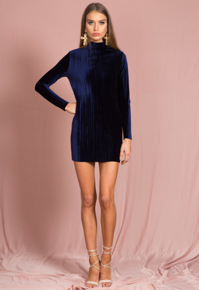 Dolce Velvet Pleat Dress Navy