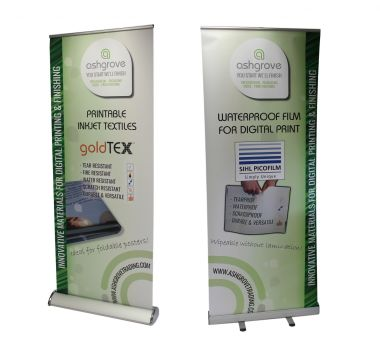 Plateau Solvent/Latex Textured Greyback Roll-Up Banner 230 micron