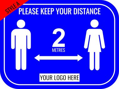 400mm x 300mm Rectangular Floor Stickers for Social Distancing
