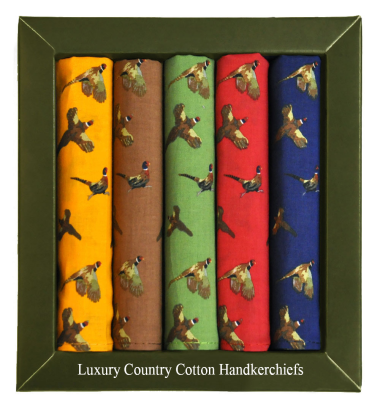 Cotton Pheasant Handkerchiefs - Boxed Set