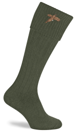 Pennine Stalker Shooting Socks With Pheasant Logo - Olive