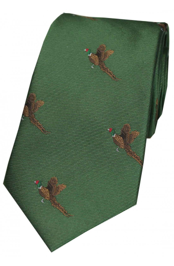 Woven Silk Tie - Flying Pheasants