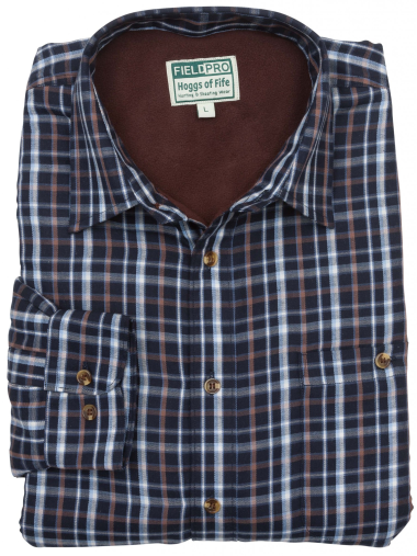 Hoggs of Fife Bark Micro-Fleece Lined Shirt (Navy Brown)
