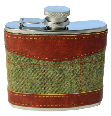 4oz Tweed & Stainless Steel Hip Flask
