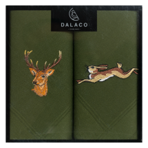 Stag/Hare Embroidered Handkerchief Set