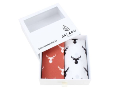 Stag Print Cotton Handkerchief Set