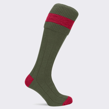 Children's Pennine Byron Shooting Socks (Olive/Ruby)