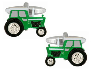 Tractor Rhodium Plated Cufflinks