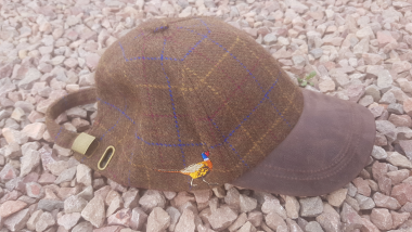 Tweed Baseball Cap with Pheasant Emboidery