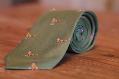 Printed Silk Tie with Standing Pheasant