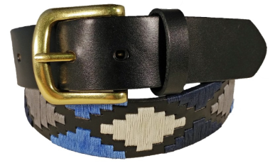 Leather Polo Belt-Black, Navy, Blue and White