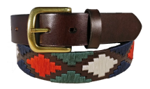 Leather Polo Belt-Brown, Red, Green and Navy