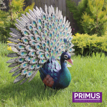 Deluxe Metal Peacock Garden Sculpture