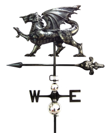 Stainless Steel Dragon Weathervane with Garden Stake