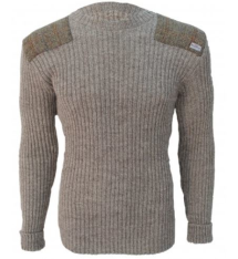 Forrester - Crew Neck Woolly Pully Sweater with Harris Tweed patches