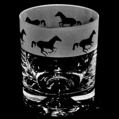 Whisky Tumbler Engraved Galloping Horses