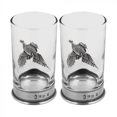 Pheasant Double Hiball Spirit Glass Set