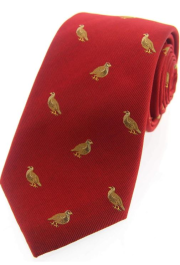 Silk Country Tie - Grouse on Red