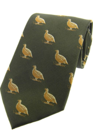 Silk Country Tie - Grouse on Country Green Ground