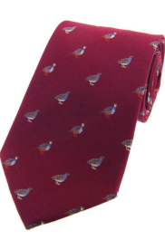 Silk Country Tie - Grouse and Partidge on Wine
