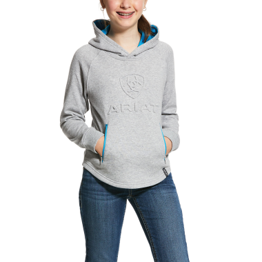 Ariat KIDS' 3D Logo Hoodie-Heather Grey