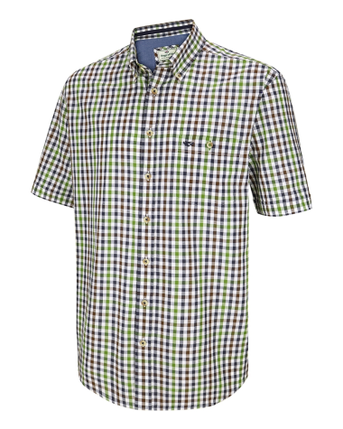 Aberdour Short Sleeve Checked Shirt-Navy