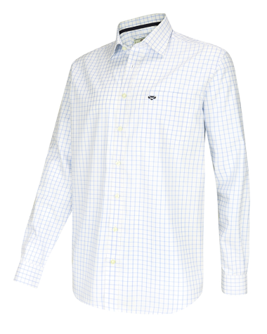 Turnberry Twill Cotton Shirt-White/Blue
