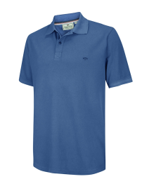 Anstruther Washed Polo Shirt-Cobalt Blue