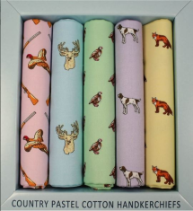 Cotton Country Animal Themed Boxed Handkerchiefs in Pastel Colours