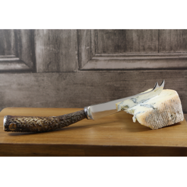 English Pewter Stag Horn Cheese Knife