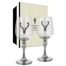 English Pewter 350ml Stag Double Wine Glass