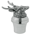 English Pewter Stag Crystal Decanter