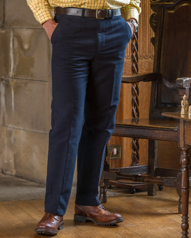 Hoggs of Fife Monarch Moleskin Trousers-Navy