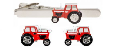 Dalaco Red Tractor Cufflink and Tie Clip Set