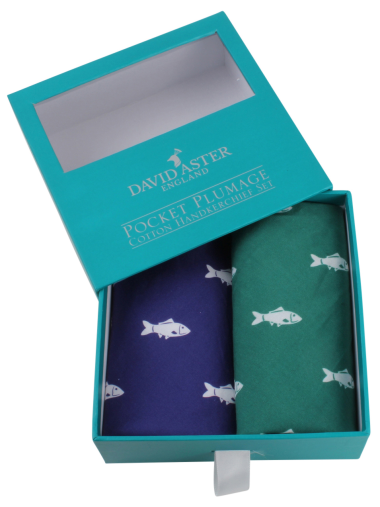 Dalaco Green & Blue Fish Print Cotton Handkerchief Set
