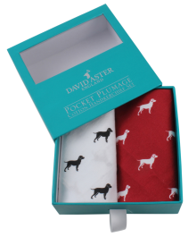 Dalaco Red & White Dog Print Handkerchief Set
