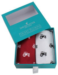 Dalaco Red & White Tractor Print Cotton Handkerchief Set