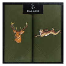 Dalaco Stag & Hare Embroidered Green Cotton Handkerchief set