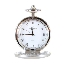 Dalaco Silver Brushed Quartz Full Hunter Pocket Watch