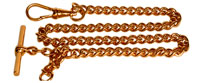 Watch Albert Double Clasp Large Curb Chain, gold plated