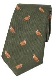 Silk Country Tie - Grouse on Green
