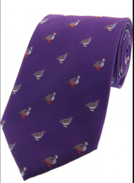Country Silk Tie - Grouse & Partridge on Purple