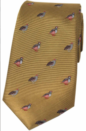 Country Silk Tie - Grouse & Partridge on Mustard